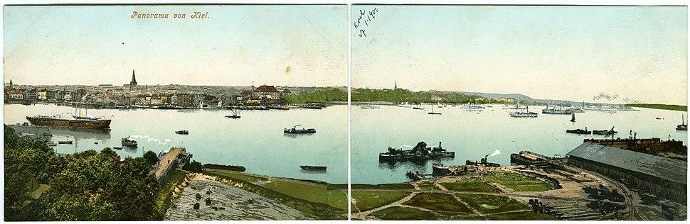 1902, double-postcard panorama of Kiel from across the Kiel Fiord.