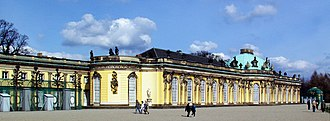 Sanssouci - The South or Garden façade and corps de logis of Sanssouci