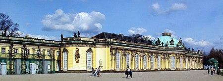 South or garden facade and corps de logis of Sanssouci.