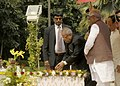 Pranab Mukherjee paying floral tribute at the Statue of Dr. Rajendra Prasad at Patna, Bihar on October 03, 2012. The Governor of Bihar, Shri Devanand Konwar and the Chief Minister of Bihar, Shri Nitish Kumar are also seen.jpg