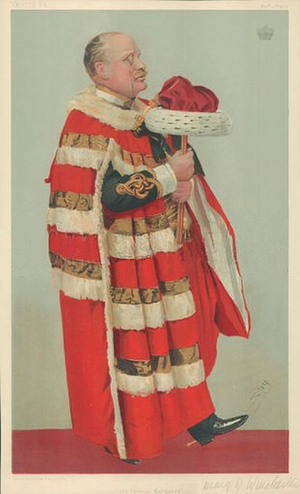 """Henry Paulet, 16th Marquess of Winchester - """"Premier Marquess"""", caricature of Winchester by Leslie Ward (""""Spy"""") from Vanity Fair magazine, 3 November 1904"""