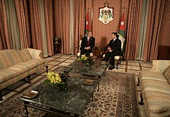 President George W. Bush and Jordan's King Abdullah II meet Wednesday, Nov. 29, 2006, at Raghadan Palace in Amman.jpg