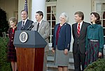 President Ronald Reagan Nancy Reagan George Bush Barbara Bush Dan Quayle Marilyn Quayle Photo Op with Newly Elected George Bush and Dan Quayle.jpg