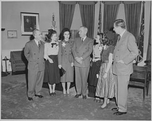 President Truman greets winners of the Voice o...