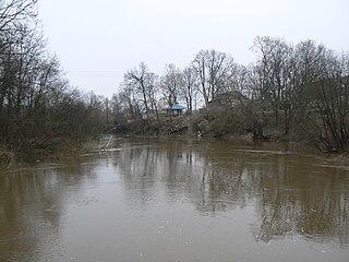 Minija nuo medinio pėsčiųjų tilto Priekulėje.Foto:Kususrija
