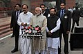 Prime Minister Narendra Modi speaking to the media ahead of the Budget Session 2015.jpg