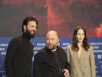 Profile (film) - Press conference at Berlinale 2018. Shazad Latif, Timur Bekmambetov, Valene Kane.