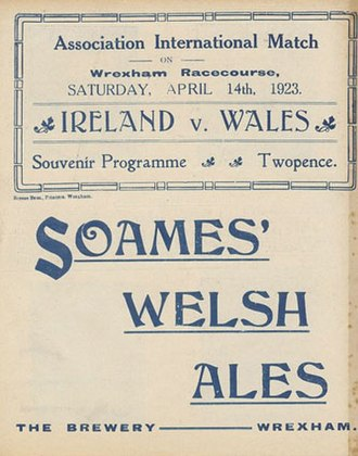 Border Breweries (Wrexham) - Like their successor company, Border, Soames Brewery was associated with local sporting events. 1920s football programme