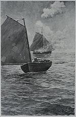 Pirater forlater brennende slupp