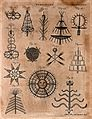 Pyrotechny; designs for fireworks. Engraving by A. Bell. Wellcome V0023737EL.jpg