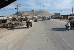 Qalati Ghilji - The Qalat Fortress in Qalat, Zabul Province, Afghanistan circa spring 2013. The picture was taken from a U.S. military vehicle on patrol driving on highway 1.