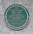 Queen's Hall green plaque London.JPG