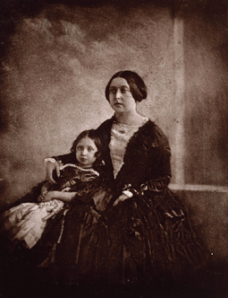 Earliest known photograph of Victoria, here with her eldest daughter, c. 1845 Queen Victoria the Princess Royal Victoria c1844-5.png