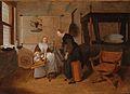 Quiringh Gerritsz van Brekelenkam Interieur mit einer jungen Frau am Spinnrad und einer Magd.jpg