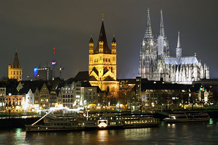 Cologne (Köln) is the largest city of North Rhine-Westphalia Raddampfer Goethe bei Nacht001.jpg