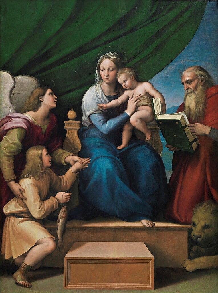 File raffaello sanzio sacra famiglia con rafael tobia e for Pesci con la e