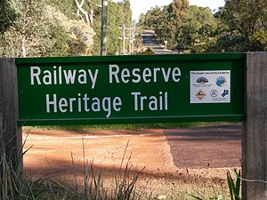 Railway Reserves Heritage Trail - Sign identifying sponsors of upgrades to trail and facilities