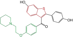 Selective estrogen receptor modulator - Figure 9: Raloxifene has a benzothiophene group (red) and is connected with a flexible carbonyl hinge to a phenyl 4-piperidinoethoxy side chain (green).