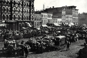 Fulton-Randolph Market District - Looking east on Randolph street in Chicago 1880
