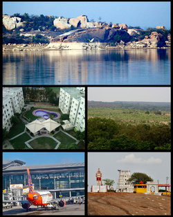 Rangareddy District Montage. Clockwise from Top Left: Lord Venkateshwara temple at Chevella, Rajiv Gandhi International Airport at Shamshabad, Residential buildings in Miyapur.