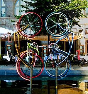Robert Rauschenberg - Robert Rauschenberg, Riding Bikes, Berlin, Germany, 1998.