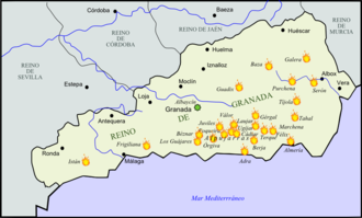 Rebellion of the Alpujarras (1568–71) - Principal centres of the Morisco Revolt