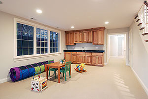 Recreation room - A recreation room arranged as a children's play area in a Chicago home.