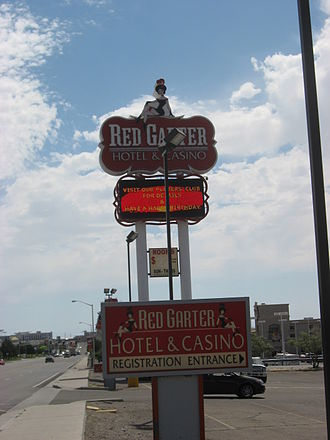 Red Garter Casino - Sign in front of the Red Garter