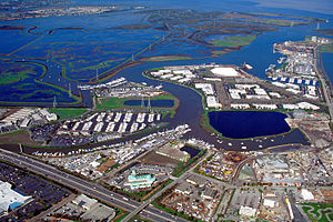 Redwood Creek (San Mateo County) - Aerial view of the mouth of Redwood Creek on San Francisco Bay at the port of Redwood City, California
