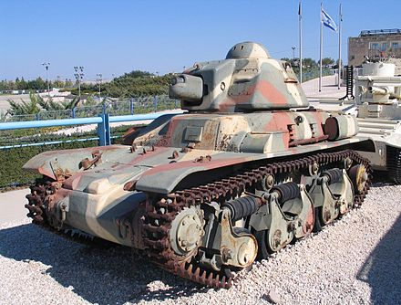 A Renault R35 light tank. Superior to the Panzer I and II, the R35 was outmatched by smaller numbers of the Panzer III and IV. Renault-R-35-latrun-2.jpg