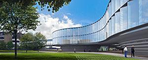 rendering architekta ESO prodloužení sídle.  Vizualizovat tak nízké, zakřivený skla budově