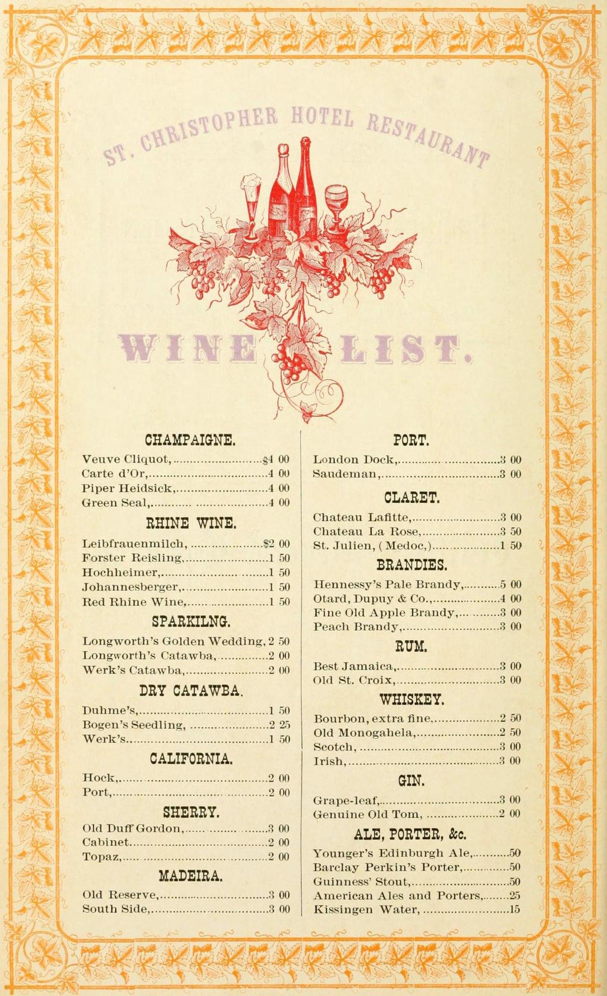 Carte De Vins Du Restaurant  Ef Bf Bd La Fleur De Sureau
