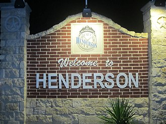 Henderson, Texas - Henderson welcome sign on U.S. Highway 79