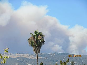 Flammagenitus (cloud) - Smoke from the Rey Fire creates a flammagenitus cloud.