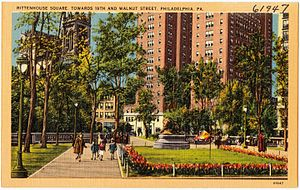 Walnut Street (Philadelphia) - An old postcard of Rittenhouse Square looking towards 19th and Walnut Streets