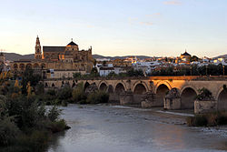 View of the Roman bridge and the city of Córdoba