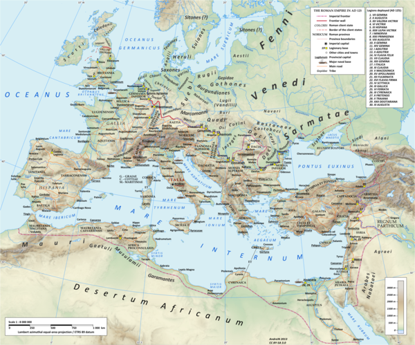 The Roman empire under Hadrian (ruled 117-138) showing the location of the Roman legions deployed in 125 AD Roman Empire 125.png