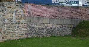 English: 3rd century city wall of Condate (now...