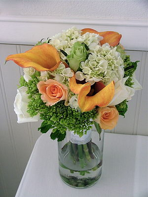 Cut flowers - Rose, hydrangea and calla wedding bouquet
