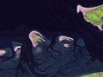 Zuiderduintjes - Satellite image of easternmost point of Schiermonnikoog, Simonszand, Rottumerplaat, Rottumeroog, Zuiderduintjes, and most of Borkum