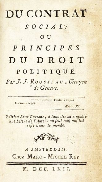 The Social Contract - Title page of a pirated edition of the Social Contract, probably printed in Germany.