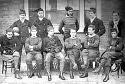 The Royal Engineers pictured in 1872. Back: Merriman, Ord, Marindin,  Addison, Mitchell; Front: Hoskyns, Renny-Tailyour, Creswell, Goodwyn,  Barker, Rich.