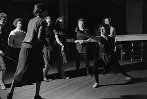 Royal Academy of Music - Students take a lesson in fencing in 1944