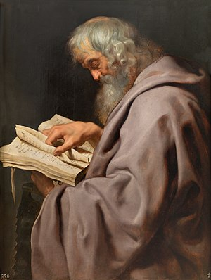 Simon the Zealot - St. Simon, by Peter Paul Rubens (c. 1611), from his Twelve Apostles series at the Museo del Prado, Madrid