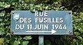 Rue des Fusillés du 11 juin 1944, plaque, Mussidan.jpg