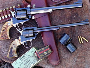 Ruger Single-Six - Custom Long Barrel 45 Colt/45 ACP Blackhawk over Standard Ruger Single-Six 9.5 inch barrel