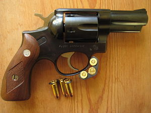 Moon clip - Rare Ruger Speed Six variant in 9mm Parabellum, which uses half-moon clips to chamber the rimless cartridges