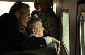 Rhino Runner - U.S. Secretary of Defense Donald Rumsfeld in a Rhino Runner