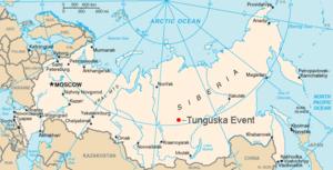 Carte montrant la position approximative de l'explosion de Toungouska en 1908