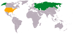 Map indicating locations of Russian Empire and United States